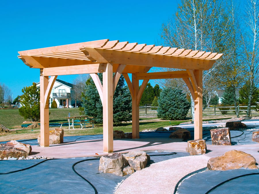- Timber Frame Pergola-Brewster Timber Frame Company-Bellvue, Colorado