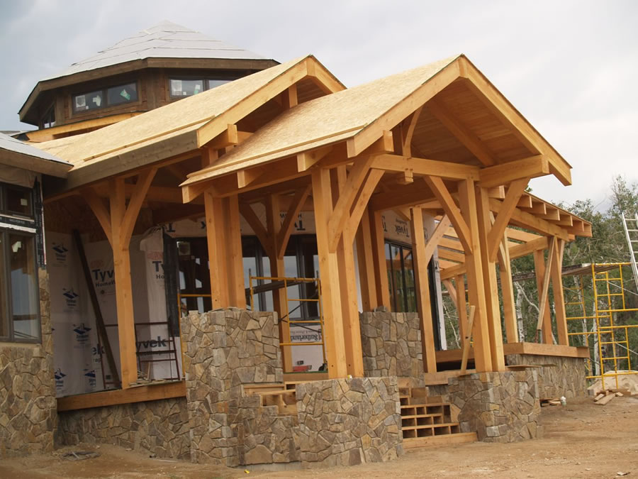 Timber frame home brewster timber frame company bellvue for Timberframe house