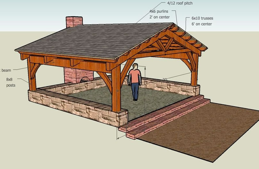 Timber Frame Pavilion-Brewster Timber Frame Company-Bellvue, Colorado
